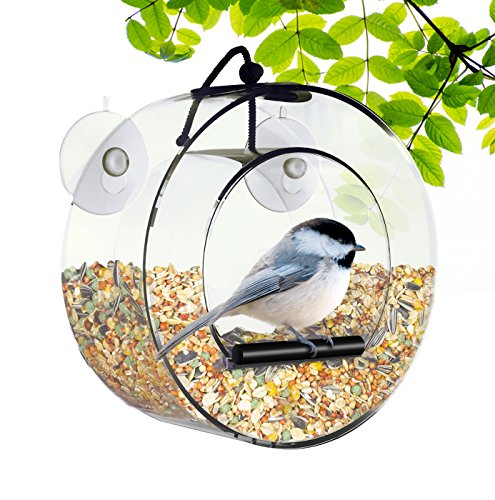 Cheap BirdMaster Window Bird Feeder – Acrylic Circular Design – Strong Suction Cups – Drain Holes – Squirrel Proof – Easy to Install & Clean – Outdoor for All Small Wild Birds [Gift-Ready Packaging]