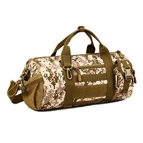 Protector Plus Tactical Cylinder Packs MOLLE Handbag Gear Military Travel Carry On Shoulder Duffle Bags Small Valise (Desert Digital Camouflage) (Plus Cylinder)