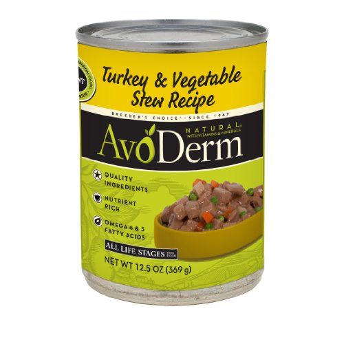 AvoDerm Dog Food, Turkey & Vegetable Stew, 12.5 Ounce (Pack of 12)