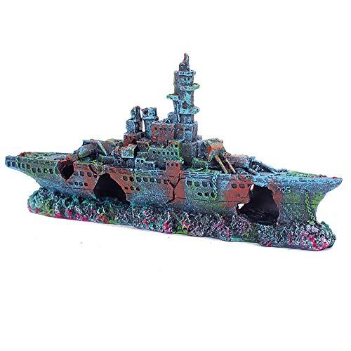Miracliy Aquarium Ship Battleship Aquarium Decorations Fish Tank Sunken Ship Decorations Aquarium Decorations Shipwreck Resin Warship Boat Decor
