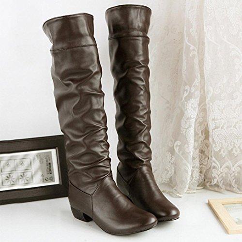 Damen Kniehohe Schuhe Upxiang Mode High-Zylinder Ritter Stiefel Umgeschlagene Kante Flache Fersen Reitstiefel Herbst Winter Ritter Schuhe Braun