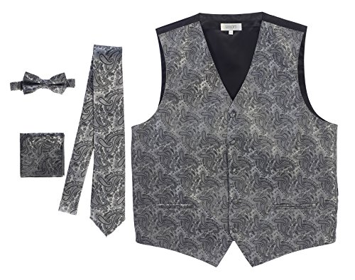 Gioberti Men's Formal 4pc Paisley Vest Necktie Bowtie and Pocket Square, Gray, 2X Large