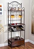 French Scroll Rustic Narrow Bakers Rack in Metal and Wood with Drawer, Built-in Wine Rack and Wine Glass Storage - Includes Modhaus Living Pen