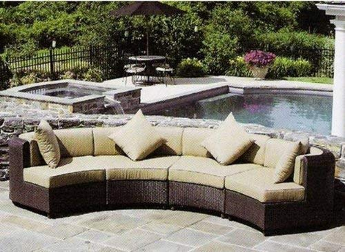 Chinpple Outdoor Furniture Set, 4Pcs Wikcer Furniture Modular Sectional Sofa Set Grey Wicker with White Cushions Patio Conversation Sets for for Porch Poolside Backyard (White 01) ()