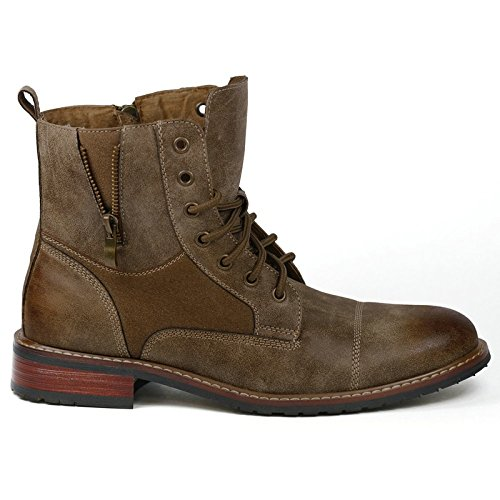 Ferro Aldo MFA-808561 Dark Brown Mens Lace up Military Combat Work Desert Ankle Boot - stylishcombatboots.com