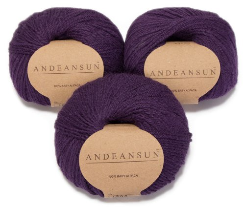 100% Baby Alpaca Yarn (Weight #3) DK - Set of 3 - AndeanSun - Luxuriously Soft for Knitting, Crocheting - Great for Baby Garments, Scarves, Hats, and Craft Projects - (Dark Purple)