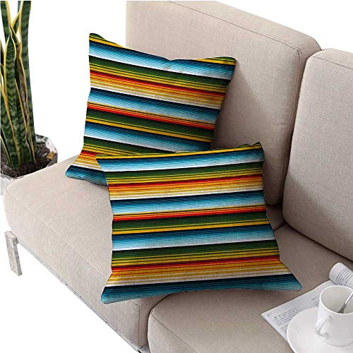 Barry Standard Pillowcase - Striped Pack of 2,Soft Decorative Throw Pillow Cover Cushion Covers Mexican Inspirations in Hand Made Horizontal Lines with Woven Ornamental Style print Decorative Throw Pillow Case 16
