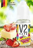 V2 Vape E-Liquid American Strawberry-Cheesecake Erdbeer-Käsekuchen - Luxury Liquid für E-Zigarette und E-Shisha Made in Germany aus natürlichen Zutaten 10ml 0mg nikotinfrei