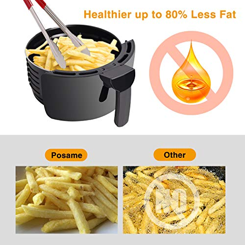 Air Fryer, POSAME LCD Digital Programmable Airfryer for Healthier Crisp Foods, Easily Detachable Frying Pot, Anti-scratch and Easy Clean Design, Auto Off and Memory Function, Family Size 4.2Qt by POSAME (Image #4)