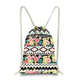 Miomao Gym Sackpack Drawstring Backpack Ethnic Bohemia Style String Bag Fleece Boho Sinch Sack Sport Cinch Sack Christams Gift Beach Bag 13 X 18 Inches Florals