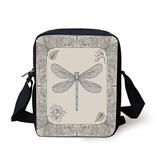 Dragonfly,Hand Drawn Royal Ancient Style Rose Petals Leaves and Ornate Figures Design Decorative,Black Light Blue Print Kids Crossbody Messenger Bag Purse