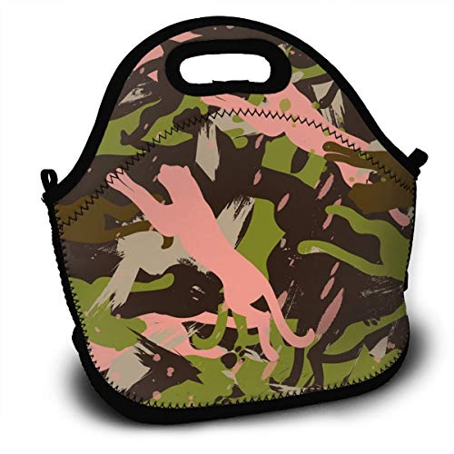 (Tidyki Neoprene Lunch Bag Tote Washable Lunchbox Non-Toxic Insulated Handbag with Shoulder Strap for School Office Picnic Gym Running Wildcat Camo Abstract)
