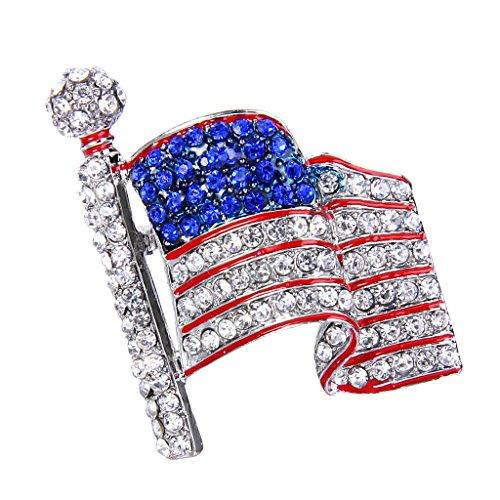 EVER FAITH Silver-Tone USA American Flag Clear w/ Blue Austrian Crystals Brooch