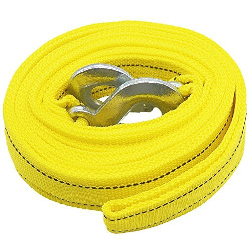 LOCEN Heavy Duty Towing Rope 4 Meters 5 Tons 10,000lb Breaking Capacity with Alloy Steel Hooks for Pulling Cars