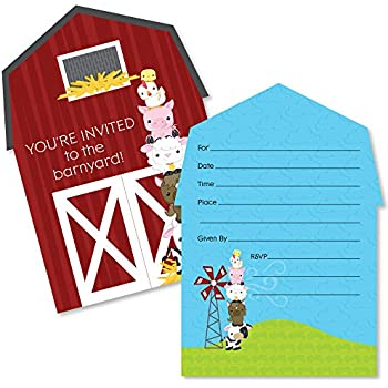 Amazoncom Farm Party Invitations 8ct Kitchen Dining