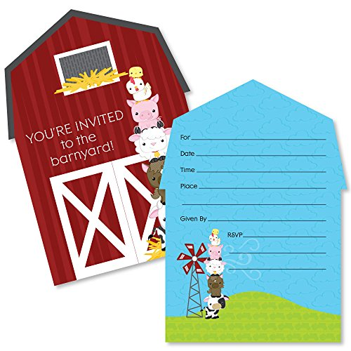 Farm Invitation - Big Dot of Happiness Farm Animals - Shaped Fill-In Invitations - Baby Shower or Birthday Party Invitation Cards with Envelopes - Set of 12