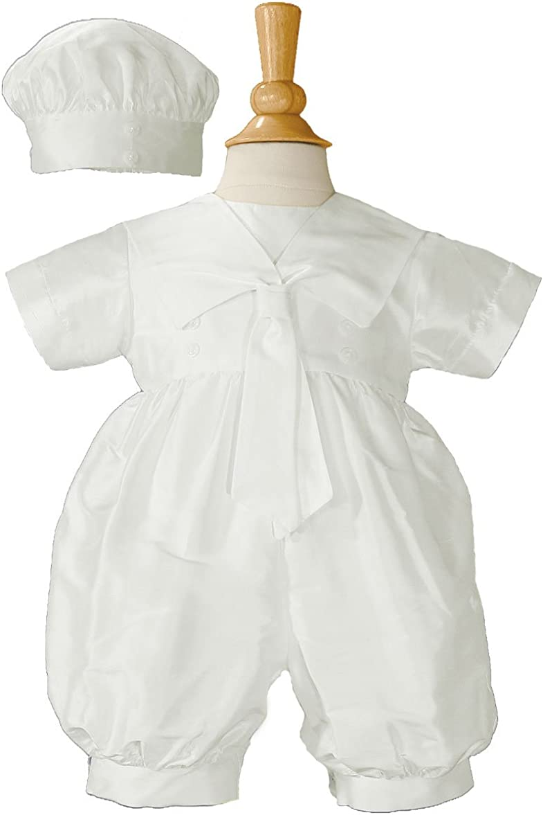 Boys Silk Christening Outfit Christening Baptism Romper with Hat
