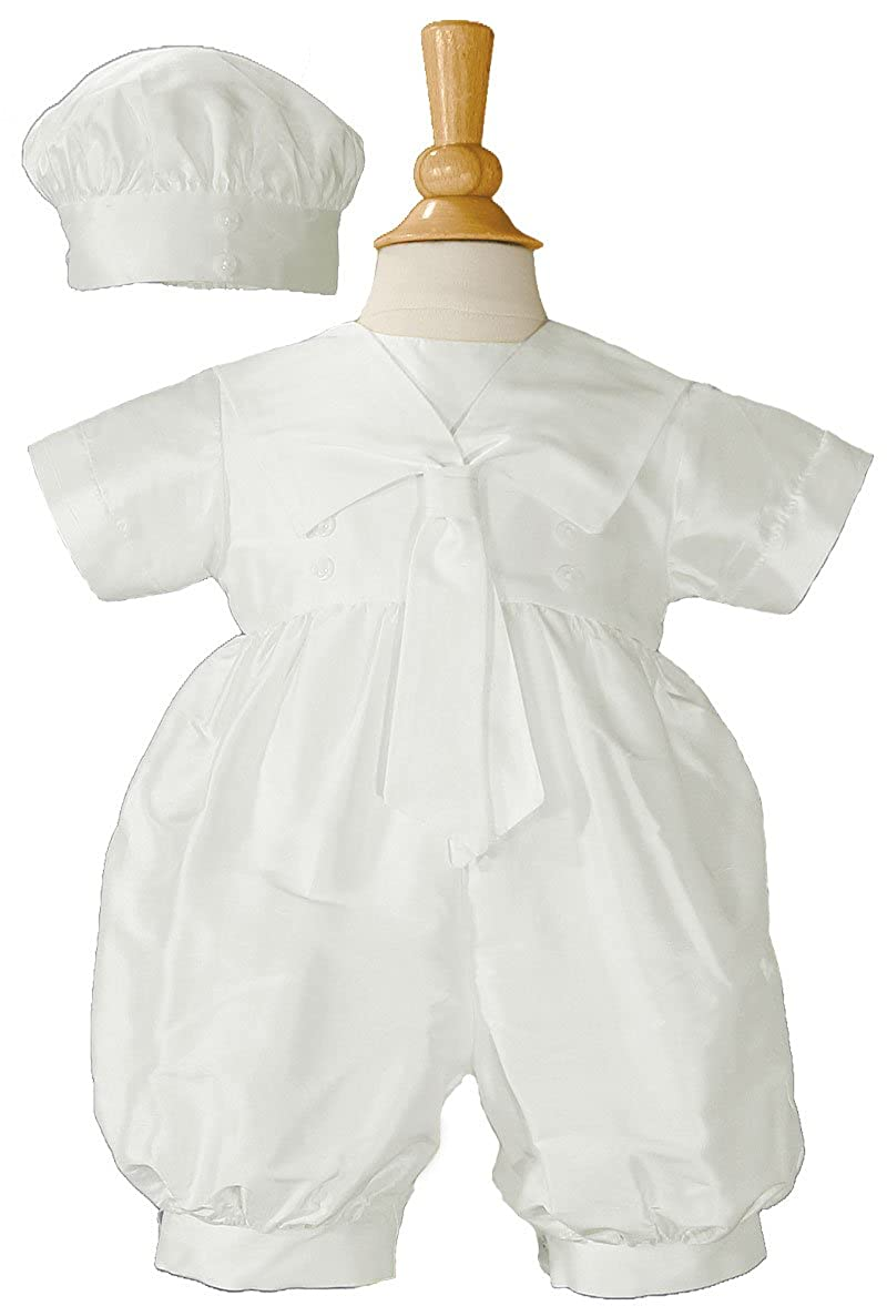 3fd03040a Amazon.com: Boys Silk Christening Outfit Christening Baptism Romper with  Hat: Clothing