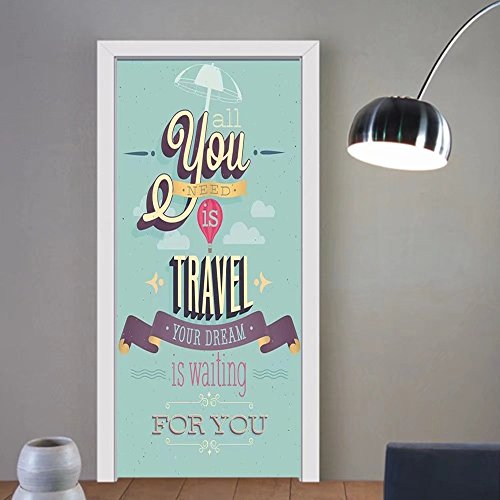 Gzhihine custom made 3d door stickers Vintage Decor Travel Dream Voyage Inspirational Motivational Themed Quote Happy Advertisement Blue For Room Decor 30x79 by Gzhihine