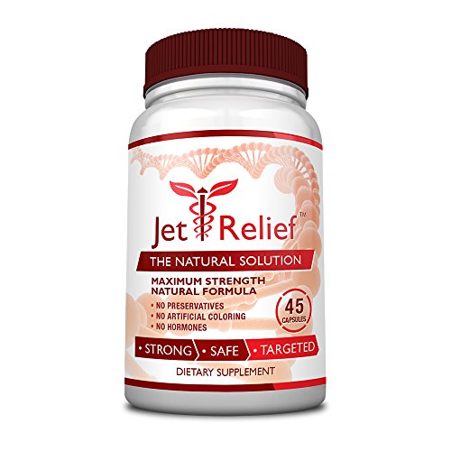 JetRelief - The #1 Choice for Jet Lag Relief - 100% Pure & Natural with NO MELATONIN- Helps Regulate Circadian Rhythm - With DMAE, Vitamin B and Magnesium - 100% Money Back - 1 Bottle Supply