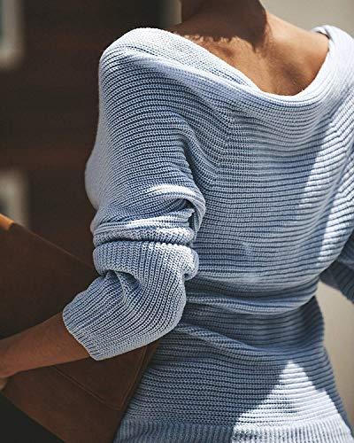 Pullover Pullover Pullover Pieghe Pieghe Pieghe Pieghe Felpa Maglioni Accogliente Autunno Maglione Blau Schienale Spalline Manica Maglie Casual Maglieria Lunga Neck Betrothales Donna Outwear Monocromo Eleganti Senza V Lana Senza wI5qYA4