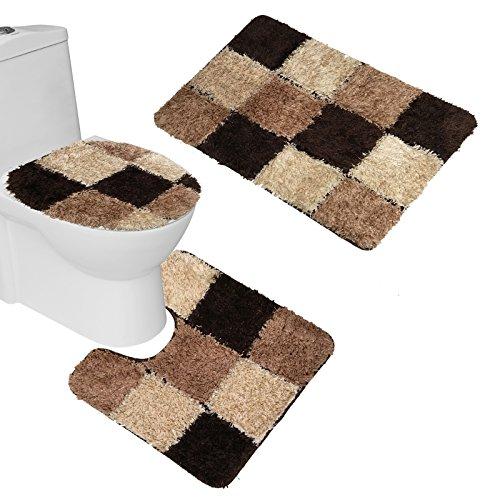 Amagical 3 Piece Bathroom Carpet Pedestal Lid Mat Toilet Cover Set Microfiber (Brown)