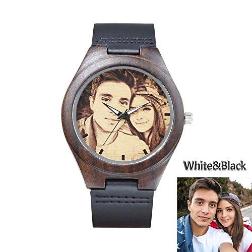 UFOORO- Reloj de pulsera de madera personalizado, correa negra, diseño de dibujo, blanco y negro, para hombre o mujer, regalo: Amazon.es: Relojes