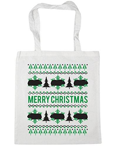 HippoWarehouse feliz Guinea Pig Christmas Tote Compras Bolsa de playa 42cm x38cm, 10litros blanco