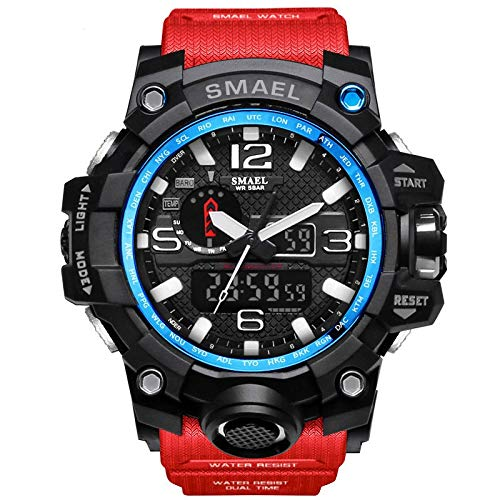 Richermall Mens Sports Analog Quartz Watch Dual Display Waterproof Digital Watches with LED Backlight relogio masculino (Red Black)