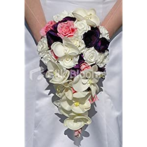 Silk Blooms Ltd Ivory Pink & Purple Rose Orchid & Anemone Bridal Wedding Bouquet 28