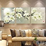 3Pcs White Orchid Combination Painting On Canvas Frameless Drawing Home Background Wall Decor