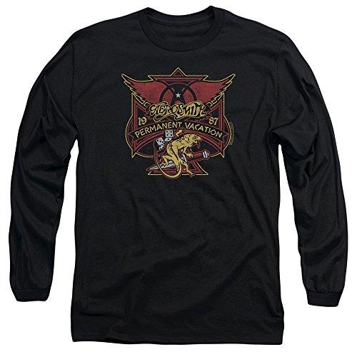 hombre larga para de Camiseta Aerosmith manga negro permanente qnwt4YTS