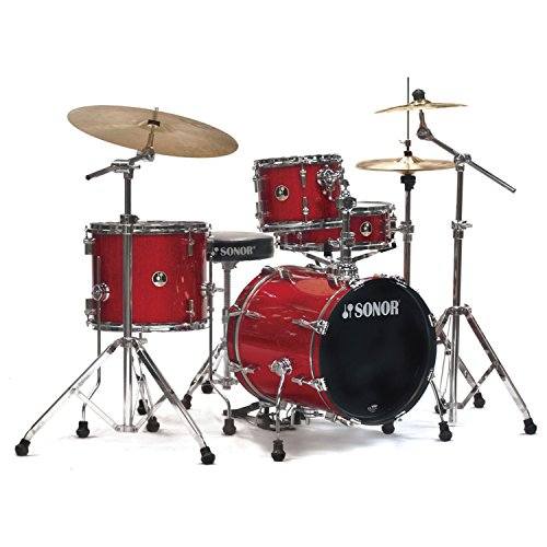 Sonor SSE 12 SAFARI C1 RGS 4-Piece Safari Drum Set Shell Pack in Red Galaxy Sparkle Sonor Hardware