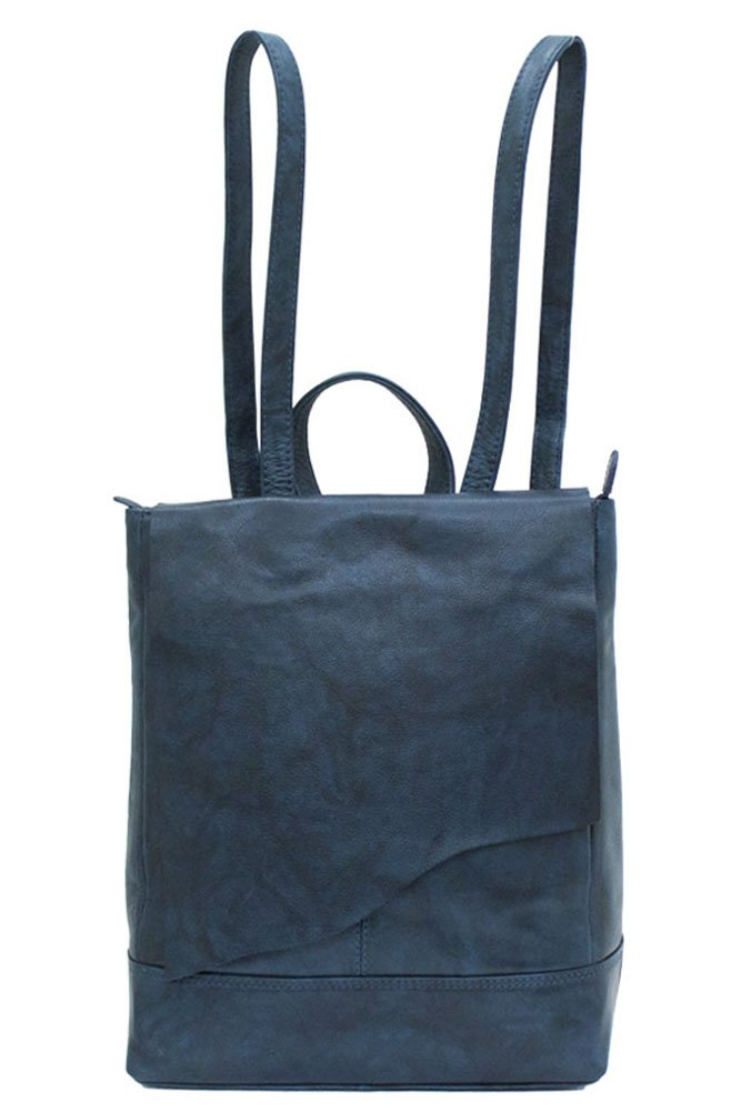 ili 6501 Leather Raw Edge Backpack Handbag (Indigo)