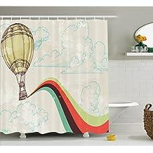 Vintage Decor Shower Curtain Set By Ambesonne, Retro Hot Air Balloon In Rainbow Destination Adventure Follow Your Dreams Icon Pop Boho Print, Bathroom Accessories, 69W X 70L Inches, Multi