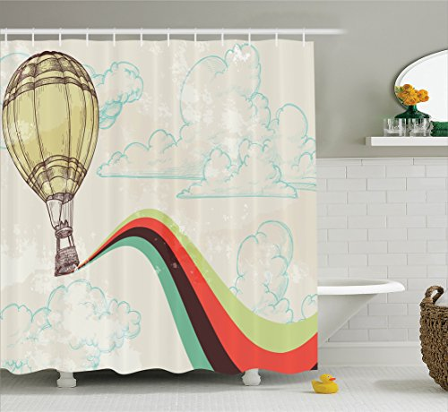 Hot Romantic Balloon Air (Ambesonne Vintage Decor Shower Curtain Set, Retro Hot Air Balloon in Rainbow Destination Adventure Follow Your Dreams Icon Pop Boho Print, Bathroom Accessories, 69W X 70L Inches, Multi)