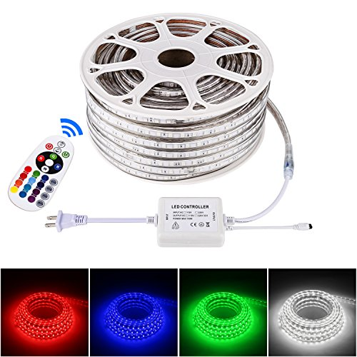 Brillihood Flexible LED RGB Neon Light strip, Multi Color Changing SMD 5050 LEDs, 110-120V AC, Dimmable Rope Light, IP65 Waterproof, Accessories Included, Christmas Holiday Decoration (50m/164ft) by Brillihood