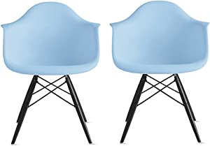 2xhome Set of 2 Blue Mid Century Modern Designer Contemporary Vintage Office Chairs Dining No Wheels Living Kitchen Guest with Arms Armchairs Solid Back Accent Plastic Dark Black Wood Wooden Legs DAW