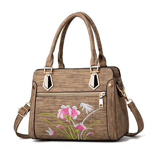 WILLTOO Handbag Bags Womens Zipper Flower Shoulder Bags Elegant Crossbody Messenger (Khaki)