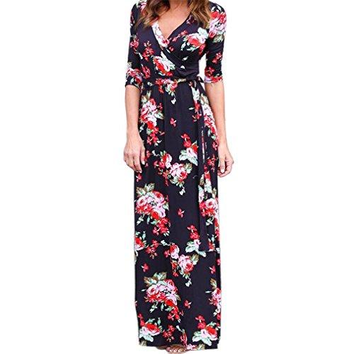 Vovotrade Frauen Mit V Ausschnitt Boho lang Maxi Abend Partei Strand Kleid Mit Blumen Sommer Kleid