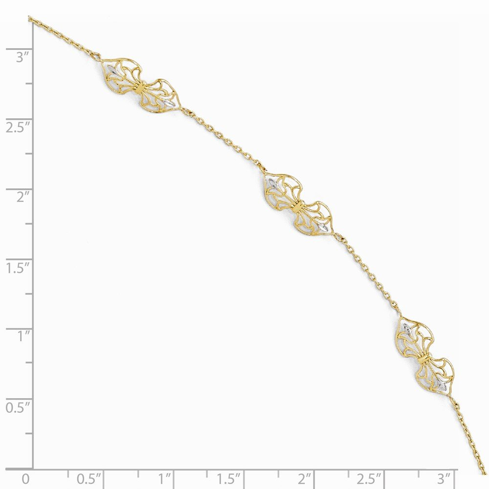 Jewelry Anklets with Stations Leslies 14k Polished with Rhoduim 9 Anklet with 1in ext