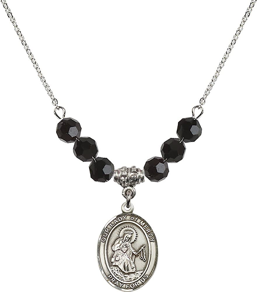 18-Inch Rhodium Plated Necklace with 6mm Jet Birthstone Beads and Sterling Silver Our Lady of Mercy Charm.