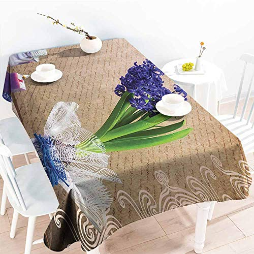 Homrkey Restaurant Tablecloth Candle and Hyacinth Flowers Natural Pictures Decor Romantic Bath Sets of Zen Spa with Colorful Vase Purple Green Brown Soft and Smooth Surface W60 xL102