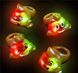 12 Bright Flashing Emoji Emoticon Poop LED Rings by DISCOUNT PARTY AND NOVELTY TM