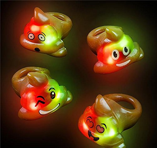 100 Bright Flashing Emoji Emoticon Poop LED Rings LIGHT UP WHOLESALE LOT BY DISCOUNT PARTY AND NOVELTY (Wholesale Light Up Novelties)