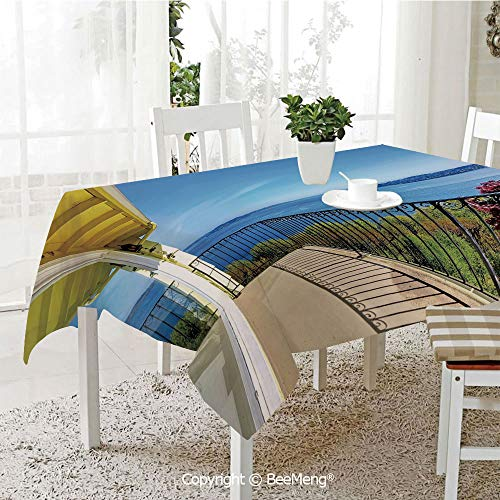 Dining Kitchen Polyester dust-Proof Table Cover,House Balcony in Summer Sunny Day Ocean Seascape Art Photo,Light Brown Blue and Green59 x 59 inches