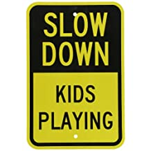 "SmartSign 3M Engineer Grade Reflective Sign, Legend ""Slow Down Kids Playing"", 18"" High X 12"" Wide, Black on Yellow"