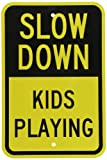 """Slow Down Kids Playing"" - Slow Children at Play Yard Sign- SmartSign 12""x18"" 3M Reflective Aluminum Street Grade Sign"