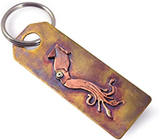product image for Hand-Tooled American Made Bronze Keychain with Giant Squid Design