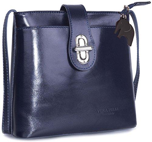 Big Handbag Shop - Bolso de mano para mujer, piel italiana auténtica, tamaño grande Navy (NL333)